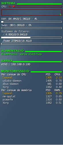 Conky: consum RAM LXDE acabat d'instal·lar