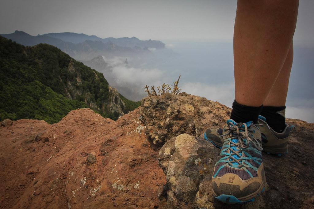 Walking on a ridge on the wild northeast coast of Tenerife
