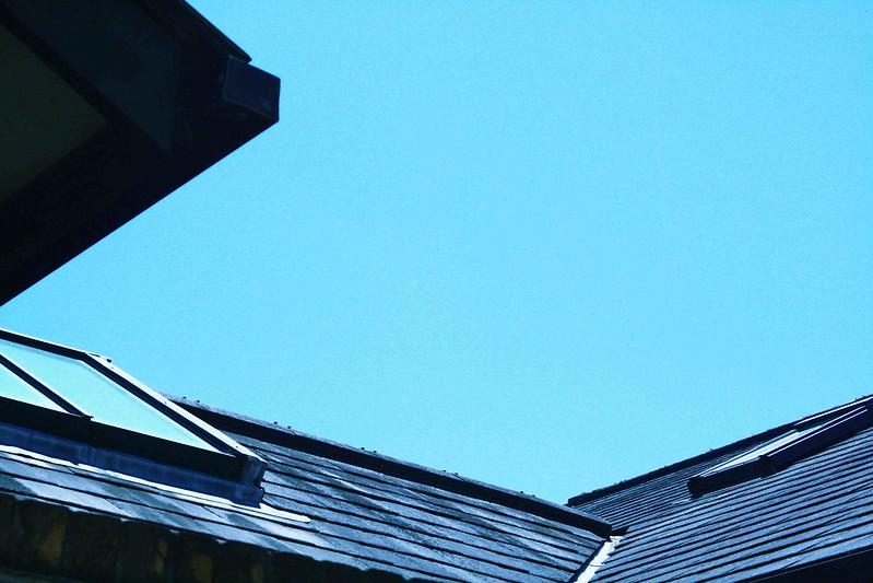 blue sky over roof