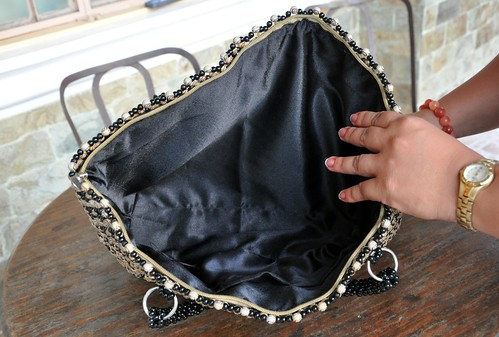 handcrafted lined beaded bag