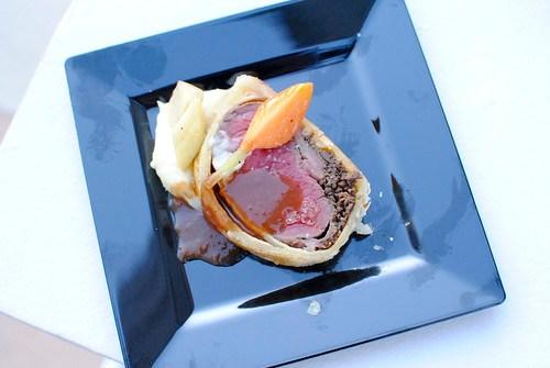 Gordon Ramsay Steak filet of beef wellington, potato puree, buttered glazed root vegetables, guinness demi