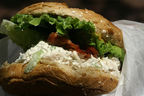 Chicken Salad with Bacon on Wheat Roll