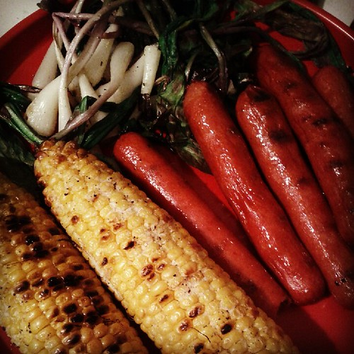 Grilled ramps, dogs, corn