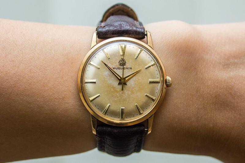 Huguenin Vintage Watch - patina on dial
