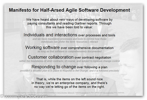 Half-arsed AGILE Manifesto