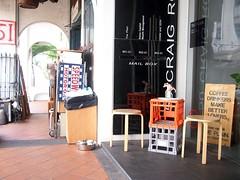 Crates outside The Plain cafe, 50 Craig Road, Tanjong Pagar