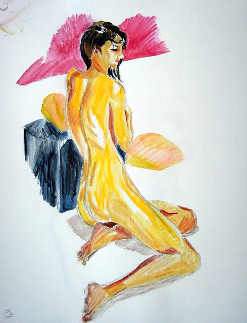 Colored water-soluble pencil sketch of seated female model