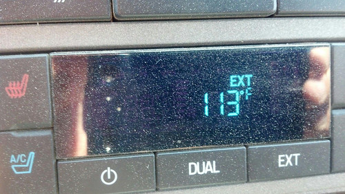 The heat registered on our Fords thermometer during our moving from Colby to Limon