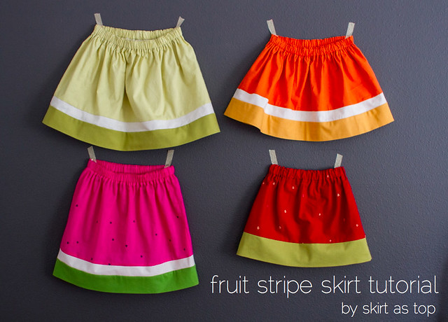fruit stripe skirt tutorial