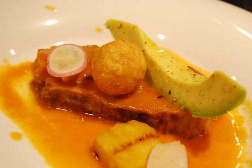 Pork belly with cornbread fritter and grilled pineapple