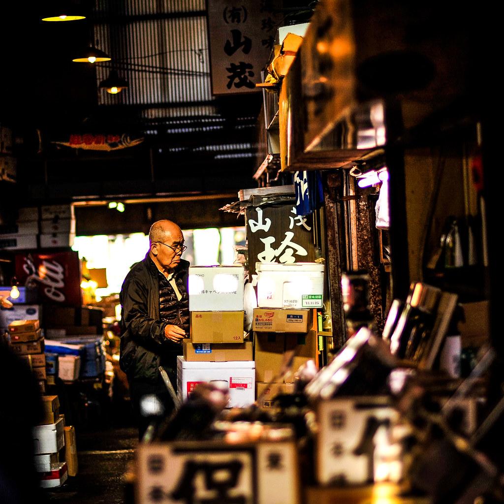 Tsukiji man in morning light