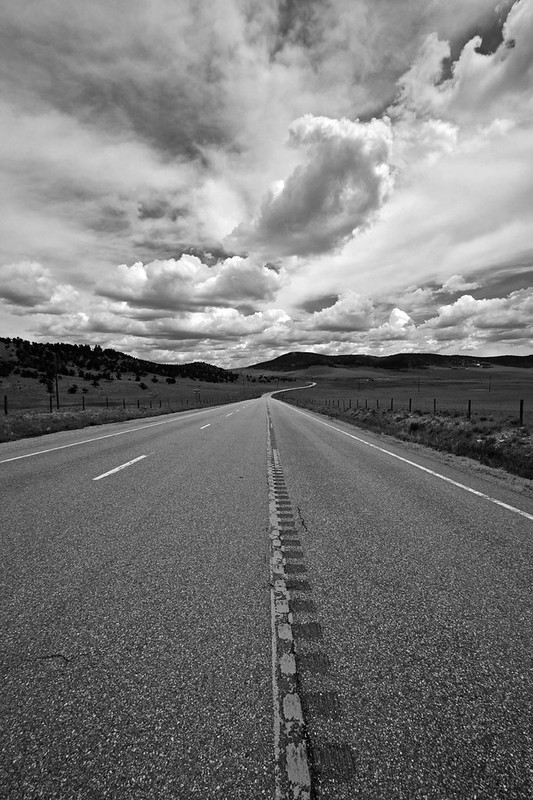 US 285, South Park, Colorado / bw