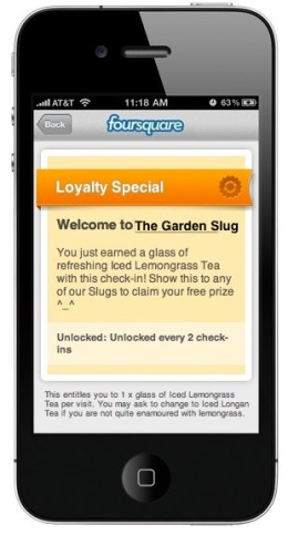 Foursquare Loyalty Special: free Iced Lemongrass Tea every second check-in