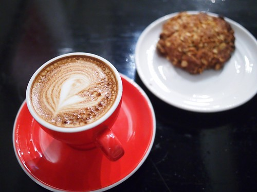 Flat White and Anzac Biscuit, Sarnies, Telok Ayer Street