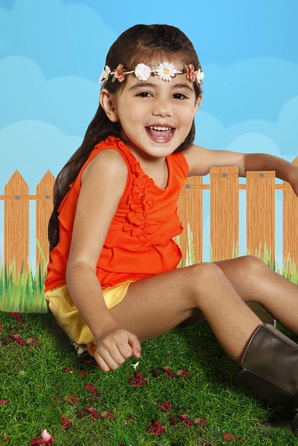 [Photo 11a] – Orange Cotton Top With Ruffles and floral appliqués, Yellow tulip shorts