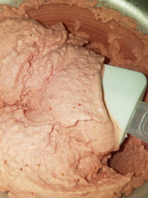 Strawberry Coconut Ice Cream in progress