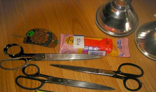 20120505 - yardsale booty - 3 - scissors, hair stick, pez, halogen lights - IMG_4127