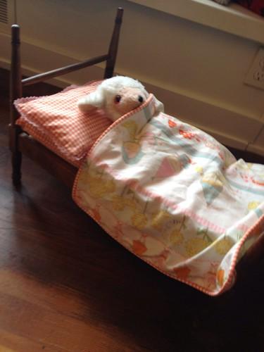 doll bedding my mom made