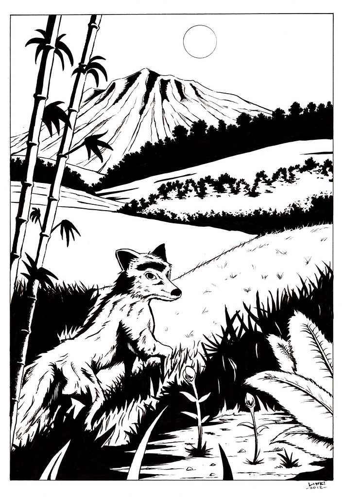Fox Exiting A Bamboo Forest