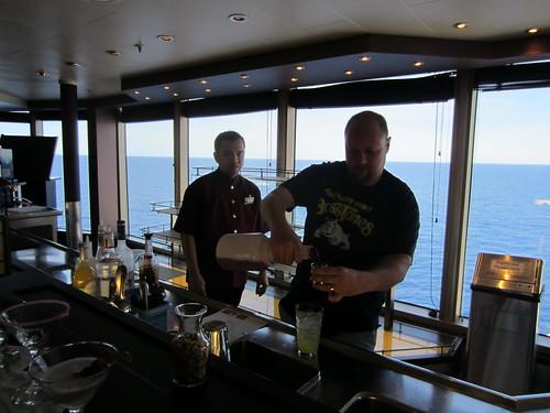 matt tending bar on the cruise ship