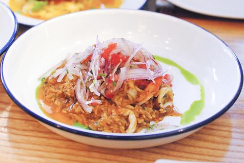 arroz con mariscos peruvian seafood paella, salsa criolla