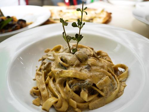 Truffled Wild Mushrooms Cream Linguini at Tuscano Italian Wood Oven Pizza & Restaurant
