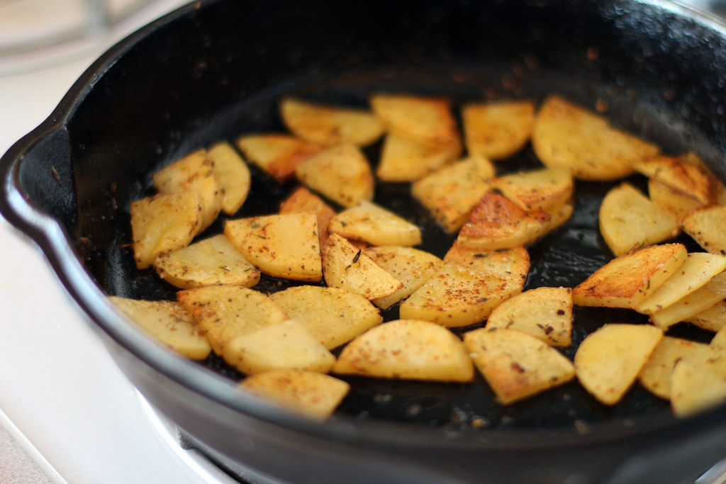 pan fried, spiced potatoes