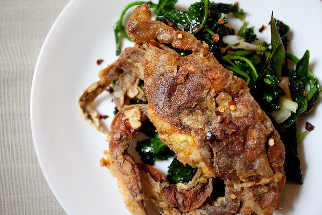 Soft Shell Crab w/ kale and spring garlic