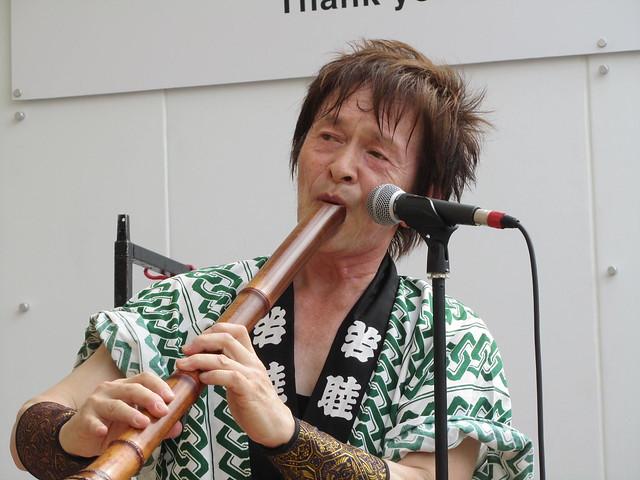 Joji Hirota plays the shakuhachi