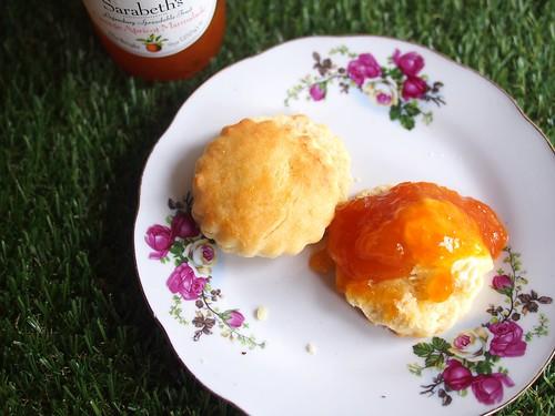 Cream Scones with Clotted Cream and Sarabeth's Orange Apricot Marmalade