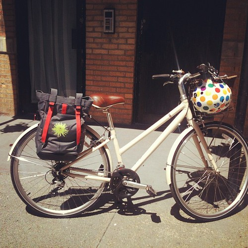 Izzy is ready for her Sunday outing, fancy new pannier bag in place. #biking