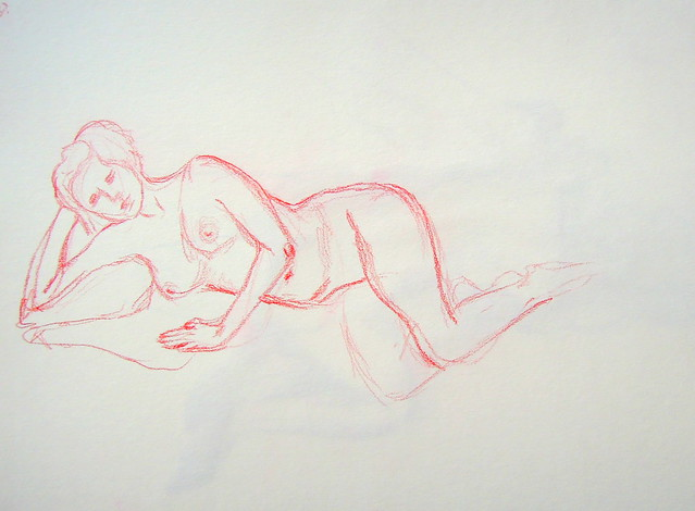 Lightly sketched model lying down with head propped on bent arm