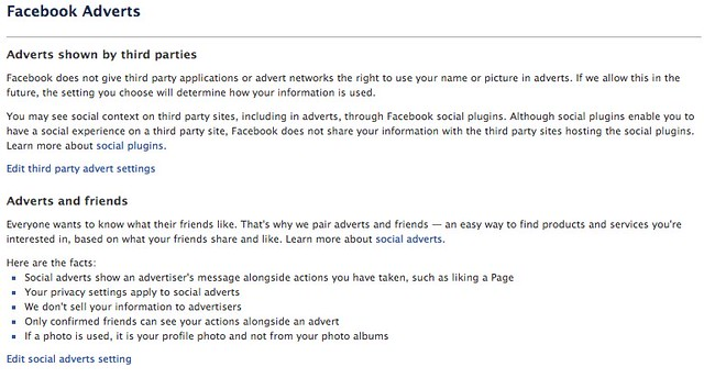 Facebook Adverts - Privacy