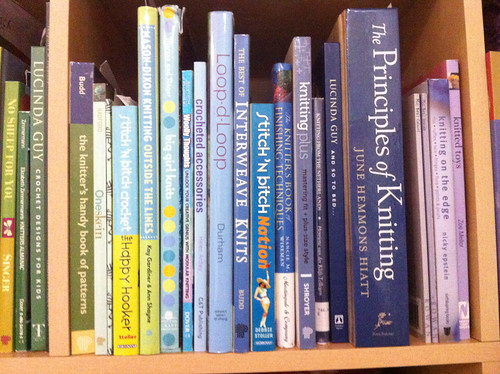 the blue section of my knitting books