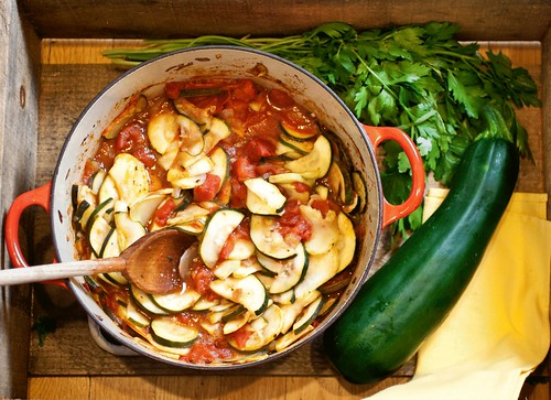 Zucchini Sauteed with Tomatoes and Marjoram