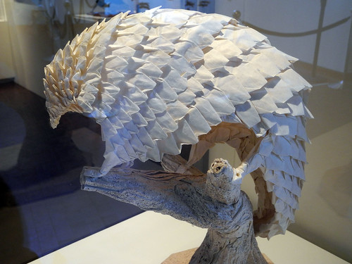 origami pangolin on origami stump by geis.t