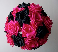 Punk Rock Bride- Hot Pink and Black Bouquet- Top