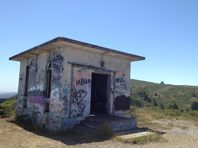 Random building with graffiti, Sweeney Ridge Trail