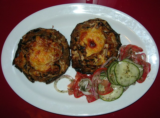 Turkey Stuffed Portobello Mushrooms & Cucumber Salad