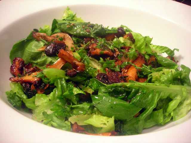 Sucrine, cremini and chanterelle salad