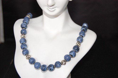 Denim Blue Ceramic and Pewter Necklace