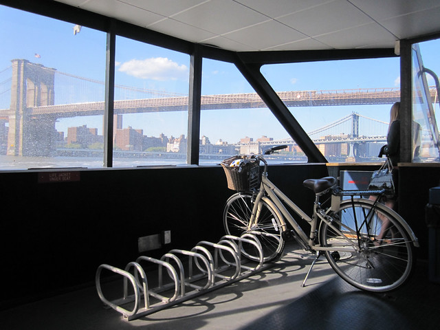 bike, boat, bridge