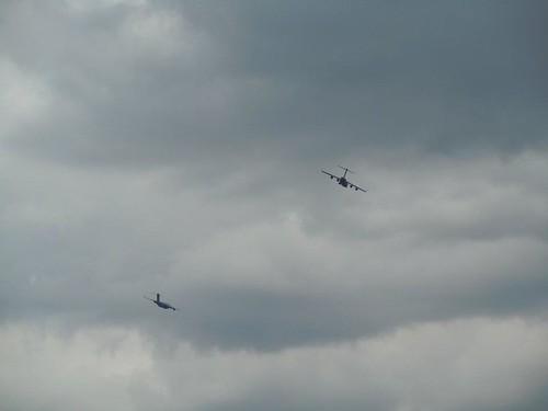Planes in flight next door