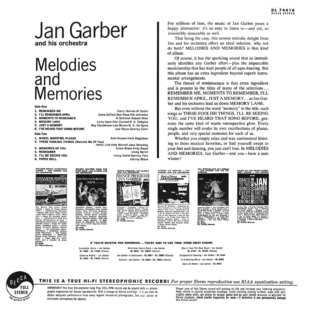 Jan Garber - Melodies and Memories