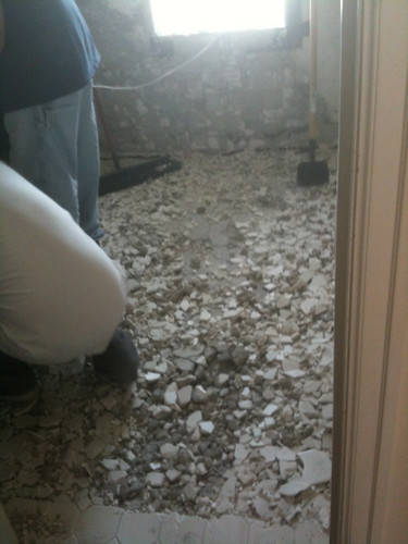 Bathroom Remodel: Day Two, The Floor