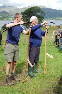 Teaching John Craven to scythe
