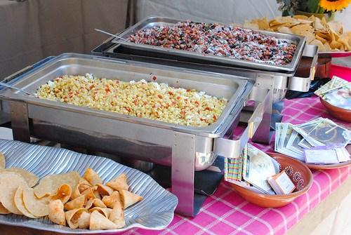 La Casita Mexicana dry white corn soup; bean salad