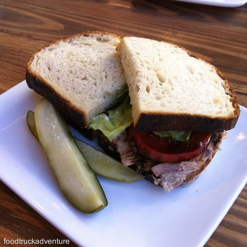 Double B-LTA, crispy and braised pork belly, butter lettuce, balsamic tomatoes, avocado, mayo, country bread #thesycamorekitchen #BLT #sandwich #food #foodporn