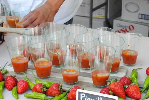 BLVD 16 tomato & watermelon gazpacho; strawberry & piquillo gazpacho
