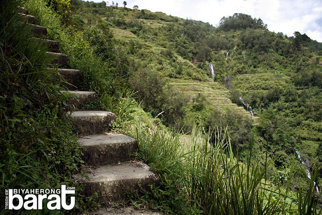 Staircase built on the slopes to Chappa Falls Banaue  Ifugao